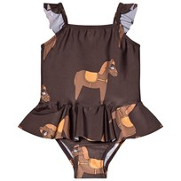 Mini Rodini Horse Skirt Swimsuit Brown BROWN