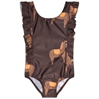 Mini Rodini Horse Ruffled Swimsuit Brown BROWN