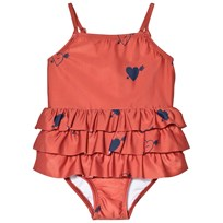 Mini Rodini Heart Frill Swimsuit Red Red