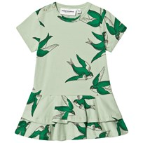 Mini Rodini Swallows Frill Dress Green Green