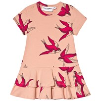 Mini Rodini Swallows Frill Klänning Rosa Pink