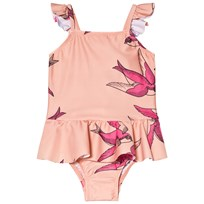 Mini Rodini Swallows Skirt Swimsuit Pink Pink