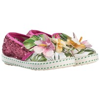 Monnalisa Pink Floral and Sequin Print and Applique Slip Ons 4225