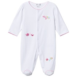 Kissy Kissy White Ocean Motif Embroidered Footed Baby Body