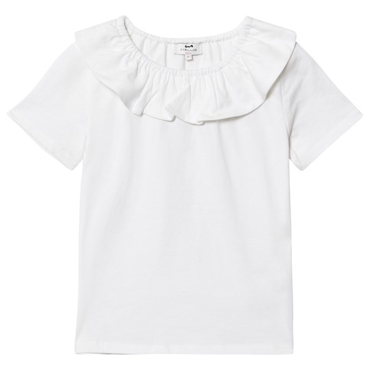 Cyrillus White T-Shirt with Frill Collar 6349