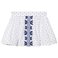 Cyrillus White and Blue embroidered Jacquard Skirt 6346