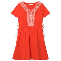 Cyrillus Red Embroidred Dress