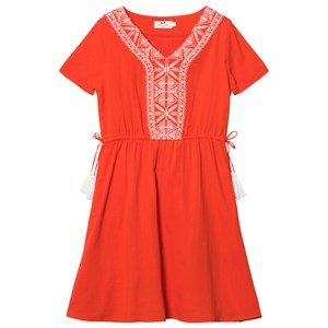 Cyrillus Red Embroidred Dress 8 years