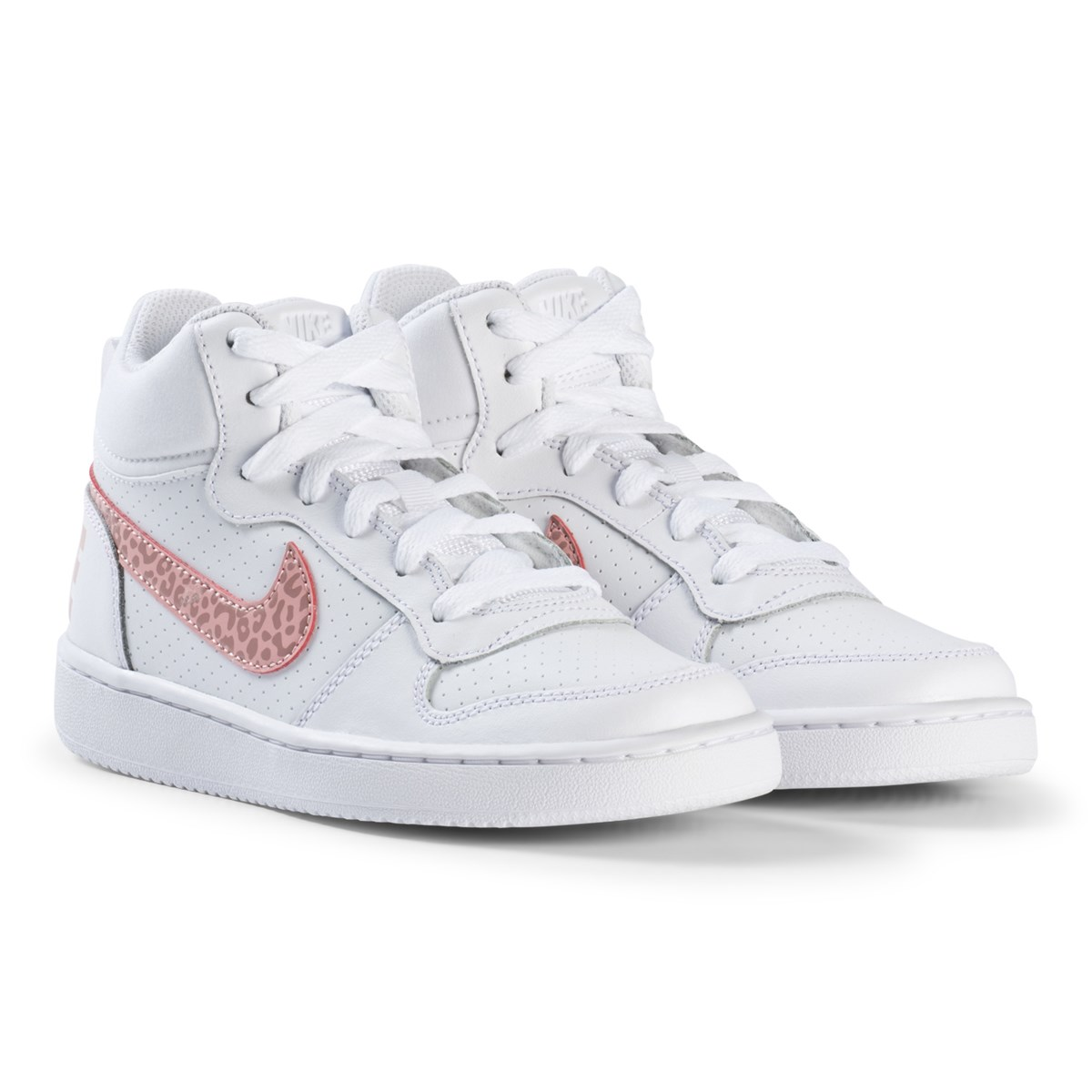 NIKE - Court Borough Mid Sneakers White/Rust Pink - Babyshop.com