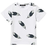 Little LuWi Feather T-shirt Vit Feather Print