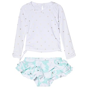 Image of Snapper Rock White Aqua Swan Long Sleeve Ruffle Set 18-24 months (2965219993)