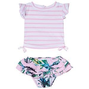 Image of Snapper Rock Pink and White Stripe Royal Palm Ruffle Set 6-12 months (2965219787)