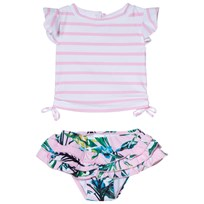 Snapper Rock Pink and White Stripe Royal Palm Ruffle Set Pink/White