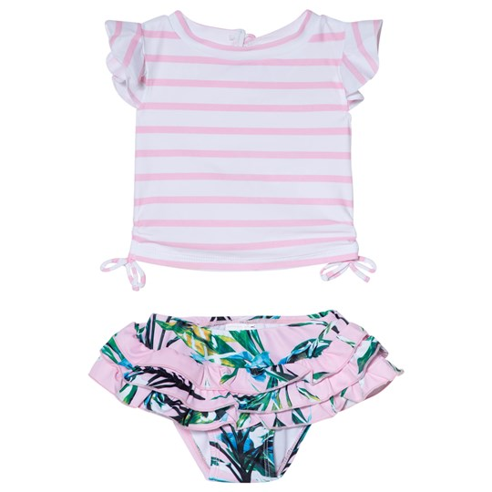 Snapper Rock Royal Palm Randigt Ruffle Bad Set Vit/Rosa Pink/White