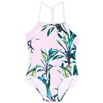 Snapper Rock Green and Pink Royal Palm Halter Swimsuit Green/Pink