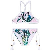 Snapper Rock Pink and Green Royal Palm Halter Bikini Green/Pink