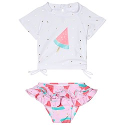 Snapper Rock White and Pink Watermelon Ruffle Set