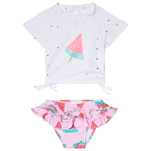 Image of Snapper Rock White and Pink Watermelon Ruffle Set 12-18 months (2965220359)