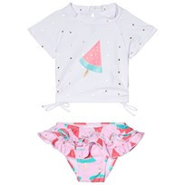 Snapper Rock White and Pink Watermelon Ruffle Set White/Pink