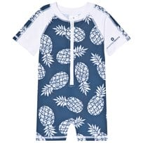Snapper Rock Navy and White Pineapple Print Rash Suit Denim