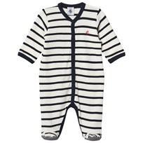 Petit Bateau Navy Striped Footed Baby Body Coquille/Smoking
