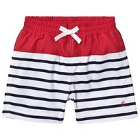 Petit Bateau White, Navy and Red Striped Swim Shorts Blue/White