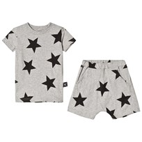 NUNUNU Star Tee and Shorts Set Heather Grey Grey