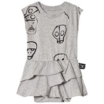 NUNUNU Skull Mask Baby Body with Skirt Heather Grey Grey