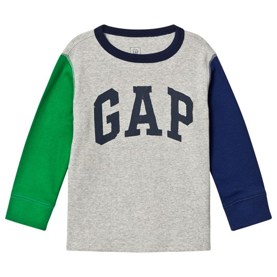 GAP Color Block Logo Tee Light Heather Grey Light Heather Grey B08