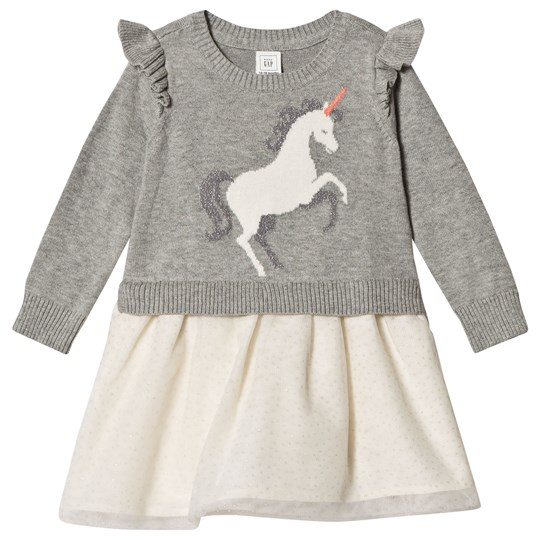 GAP Unicorn Sweater Dress Grey Heather/White GREY HEATHER/WHITE