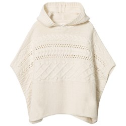 GAP Cable-Knit Hoodie Poncho Off-White