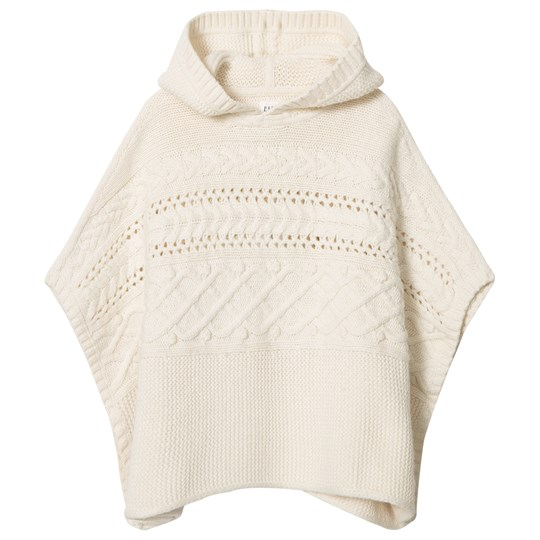 GAP Cable-Knit Hoodie Poncho Off-White ORGANIC WHITE