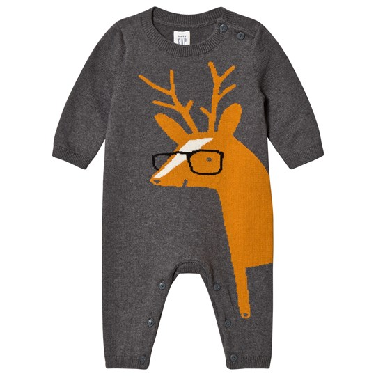 GAP Reindeer Sweater One-Piece Dark Grey Heather DK GREY HTHR
