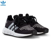 adidas Originals Black and Silver Swift Run Infants Trainers CORE BLACK/SILVER MET./FTWR WHITE