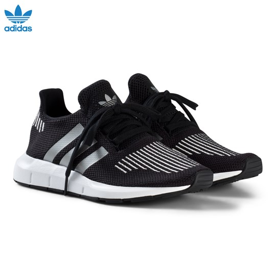 adidas Originals Black and Silver Swift Run Junior Trainers CORE BLACK/SILVER MET./FTWR WHITE