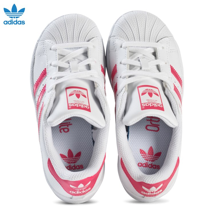 adidas Originals White and Shiny Pink Kids Superstar