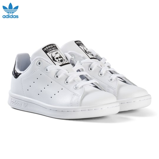 low priced bc7ef ef78c adidas Originals - White and Shiny Black Kids Stan Smith ...
