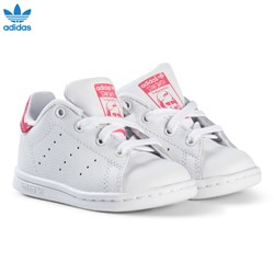adidas Originals White and Shiny Pink Infants Stan Smith Trainers