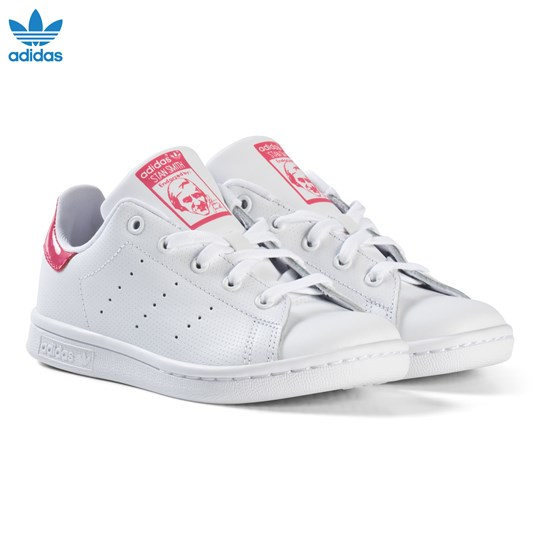 adidas Originals White and Shiny Pink Kids Stan Smith Trainers FTWR WHITE/FTWR WHITE/REAL PINK S18