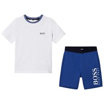 BOSS White and Blue Branded Shorts Pyjamas N48
