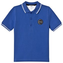 BOSS Blue Pique Polo with Rubberised Logo