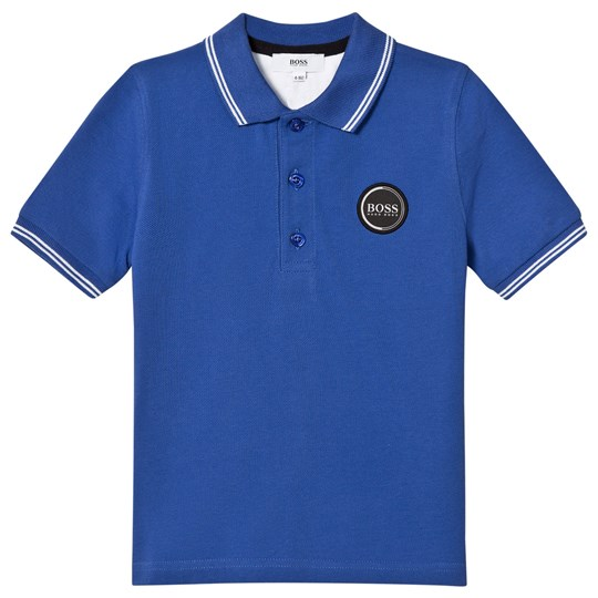 BOSS Blue Pique Polo with Rubberised Logo 861