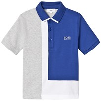 BOSS Blue and Grey Colour Block Jersey Polo 861