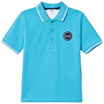BOSS Turquoise Pique Polo with Rubberised Logo 75G