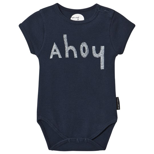 Sproet & Sprout Navy Ahoy Print Waffle Baby Body Navy