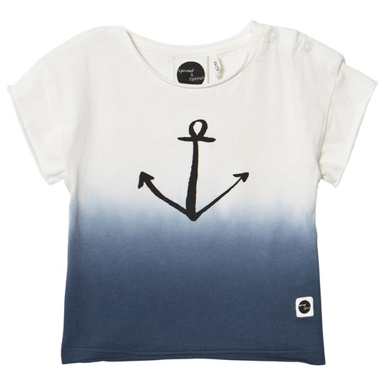 Sproet & Sprout White and Blue Ombre Anchor Print Tee White