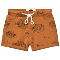 Sproet & Sprout Rust Puffer Fish Print Sweat Short Rust