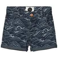 Sproet & Sprout Blue Chambray Wave Print Shorts Blue