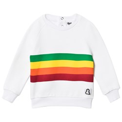 Boys & Girls White Stripes Crew Sweater