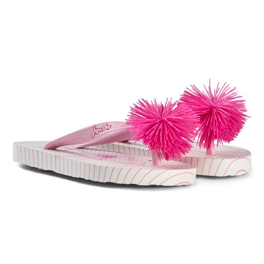 67a92a6409844c Tom Joule - Pink Flamingo and Stripe Print Pom Pom Flip Flops ...